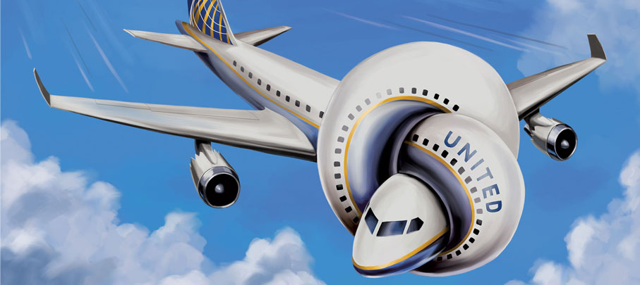 Cartoon image of United Airlines jet tied in a knot