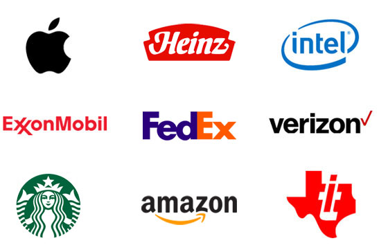 Image showing field of corporate logos - Apple, Heinz, Intel,Exxon, Fed Ex, Verizon, Starbucks, Amazon, and Texas Instruments